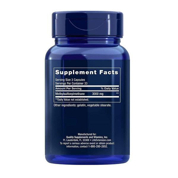 Supliment alimentar, MSM (Metilsulfonilmetan), Life Extension MSM 1000 - 100 capsule (33 doze) [1]