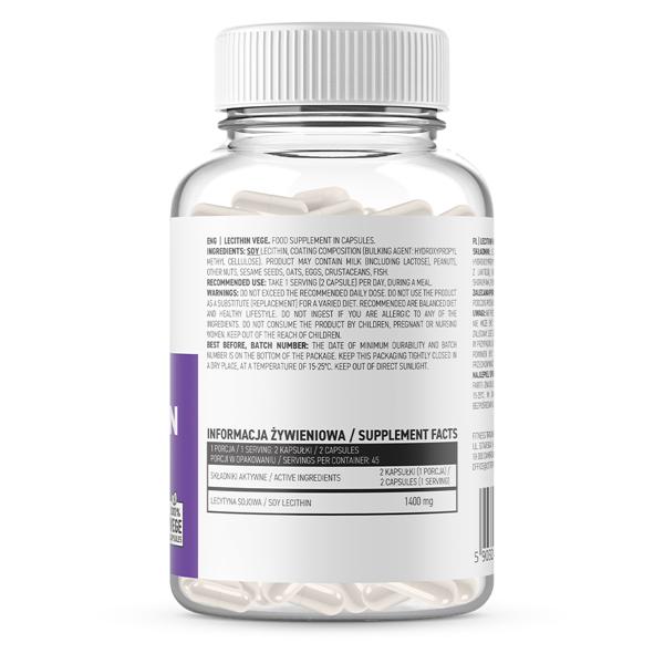 Supliment alimentar, Lecitina (1400 mg), OstroVit Lecithin - 90 capsule (45 doze) - Vege [1]