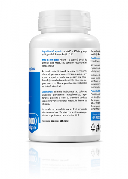 Supliment alimentar, Taurine (1000 mg) - 60 capsule [3]
