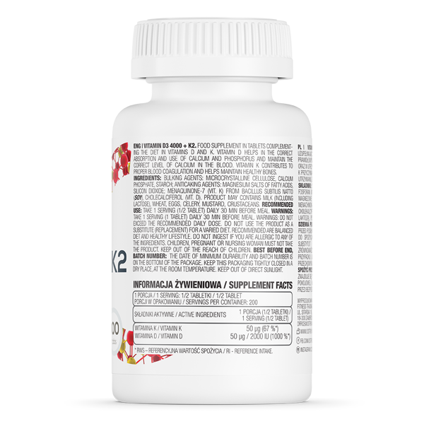 Supliment alimentar, OstroVit Vitamin D3 4000 + K2 - 100 comprimate (200 doze) [1]