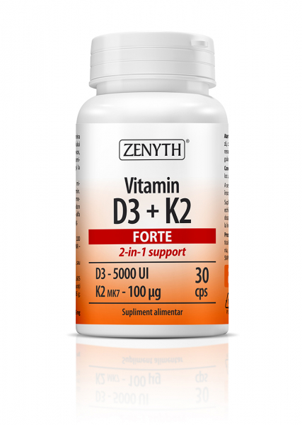 Vitamin D3 + K2 Forte (5000 UI D3 + 100 mcg K2) - 30 capsule [0]