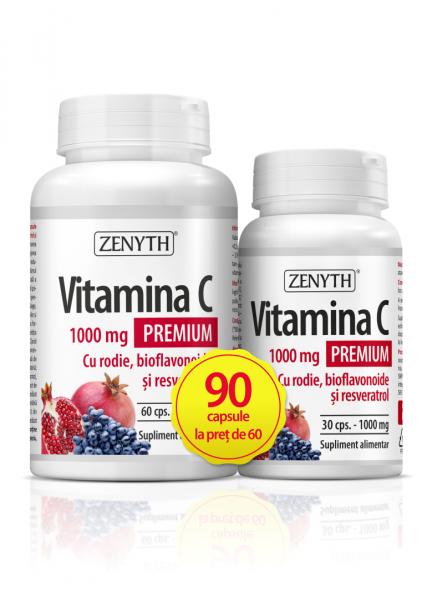 Pachet promotional Vitamina C Premium cu rodie (1000 mg) - 90 capsule [0]