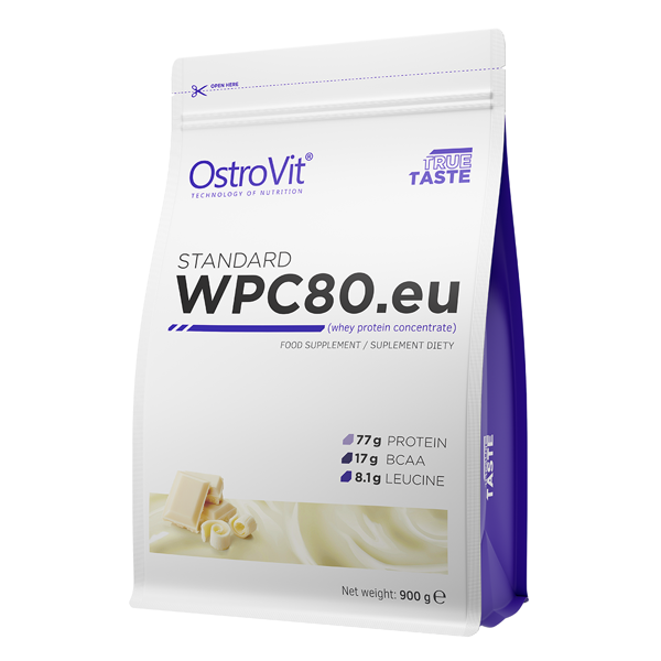 Supliment alimentar, Proteina din Zer (concentratie 80 % proteine), OstroVit STANDARD WPC80.eu - 900 g (30 doze) - Ciocolata Alba [0]