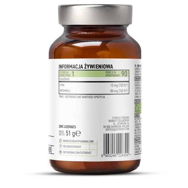 Supliment alimentar, OstroVit Pharma, Zinc Lozenges (15 mg) cu Vitamina C (80 mg) - 90 drops (90 doze) [1]
