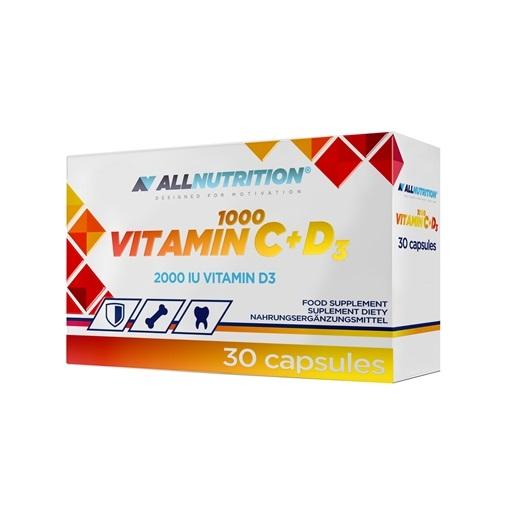 Supliment alimentar, Vitamina C plus Vitamina D3, AllNutrition Vitamin C 1000 + D3 - 30 capsule (30 doze) [0]