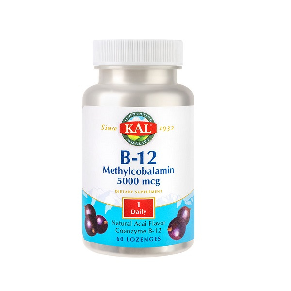 Supliment alimentar, Metilcobalamina (Vitamina B12), KAL Methylcobalamin (Vitamina B12), 5000 mcg - 60 comprimate [0]