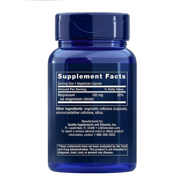 Supliment alimentar, Citrat de Magneziu (160 mg), Life Extension Magnesium (Citrate) - 100 capsule (100 doze) [1]