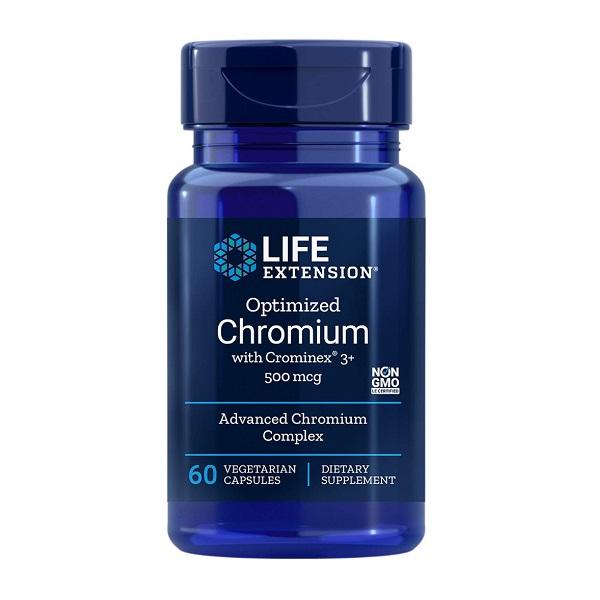Complex pentru Energie Celulara si Functia Endoteliala, Life Extension Optimized Chromium with Crominex® 3+ (500 mcg) - 60 capsule (60 doze) [0]