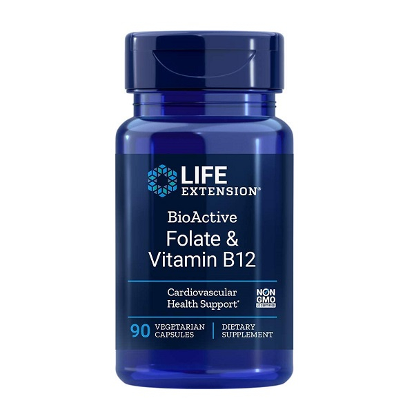 Supliment alimentar, Folat (400 mcg) cu Vitamina B12 (300 mcg), Life Extension BioActive Folate & Vitamin B12 - 90 capsule (90 doze) [0]