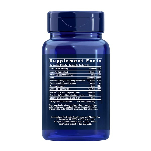 Complex pentru Par, Piele si Unghii, Life Extension Hair, Skin & Nails Collagen Plus Formula - 120 comprimate (30 doze) [1]