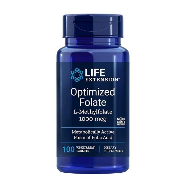 Supliment alimentar, L-Metilfolat (1000 mcg), Life Extension Optimized Folate - 100 comprimate (100 doze) [0]