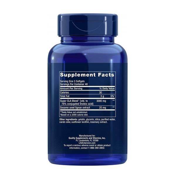 Acid Linoleic Conjugat (CLA), Life Extension Super CLA Blend with Sesame Lignans - 120 caspule (40 doze) [1]