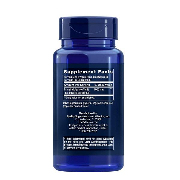 Supliment aliemntar, Trimetilglicina (1000 mg), Life Extension TMG - 60 capsule (30 doze) [1]