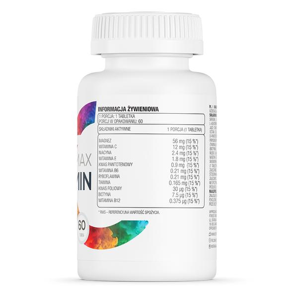 Supliment alimentar, Magneziu + 10 Vitamine si Minerale, OstroVit Magnez Max + Vitamin - 60 comprimate (60 doze) [1]
