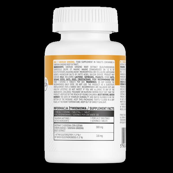 Supliment alimentar, Ginseng Siberian (300 mg), OstroVit Siberian Ginseng - 120 comprimate (120 doze) [1]