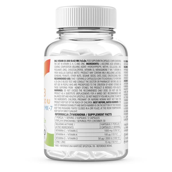 Complex de Vitamine si Minerale pentru Imunitate, OstroVit Vitamin D3 2000 IU + K2 MK-7 + VC + Zinc - 60 capsule (30 doze) [1]