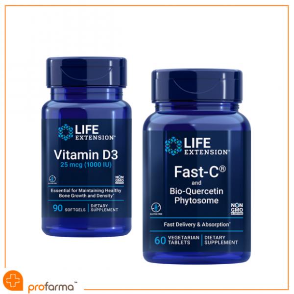 Pachet pentru Imunitate, Vitamina C, Quercetina, Vitamina D3 - Life Extension Set [0]