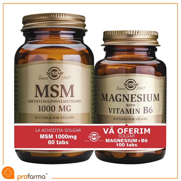 Pachet 1+1 MSM (1000 mg) - 60 tablete + Magnesium with Vitamin B6 - 100 tablete [0]