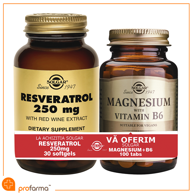 Pachet 1+1 Resveratrol (250 mg) - 30 capsule + Magnesium with Vitamin B6 - 100 tablete [0]