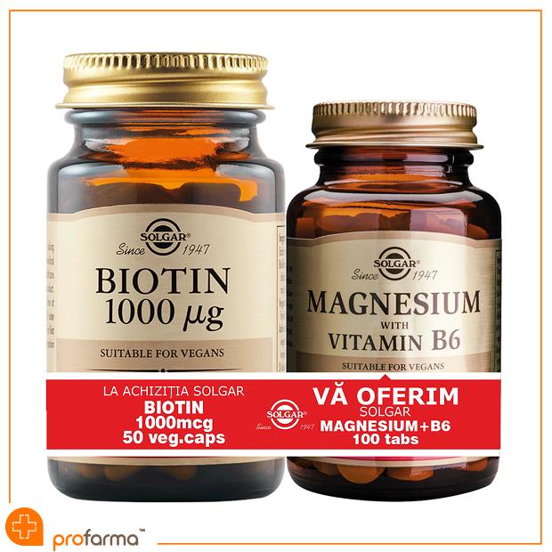 Pachet 1+1 Biotin (1000 mcg) - 50 capsule + Magnesium with Vitamin B6 - 100 tablete [0]