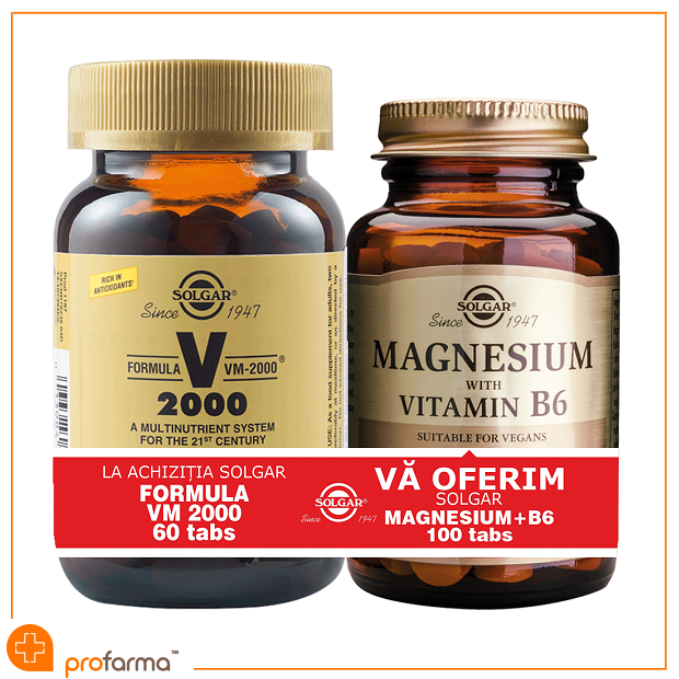 Pachet 1+1 Formula VM 2000 (60 tablete) + Magnesium with Vitamin B6 - 100 tablete [0]