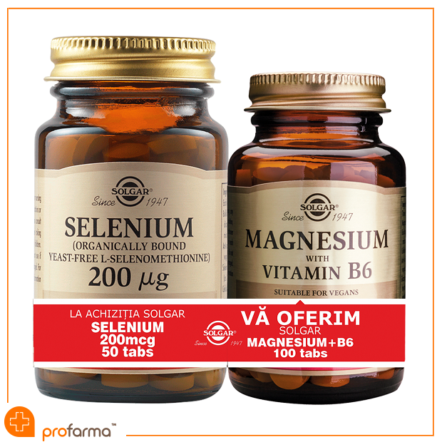 Pachet 1+1 Selenium (200 mcg) - 50 tablete + Magnesium with Vitamin B6 - 100 tablete [0]