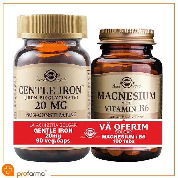 Pachet 1+1 Gentle Iron (20 mg) - 90 capsule + Magnesium with Vitamin B6 - 100 tablete [0]