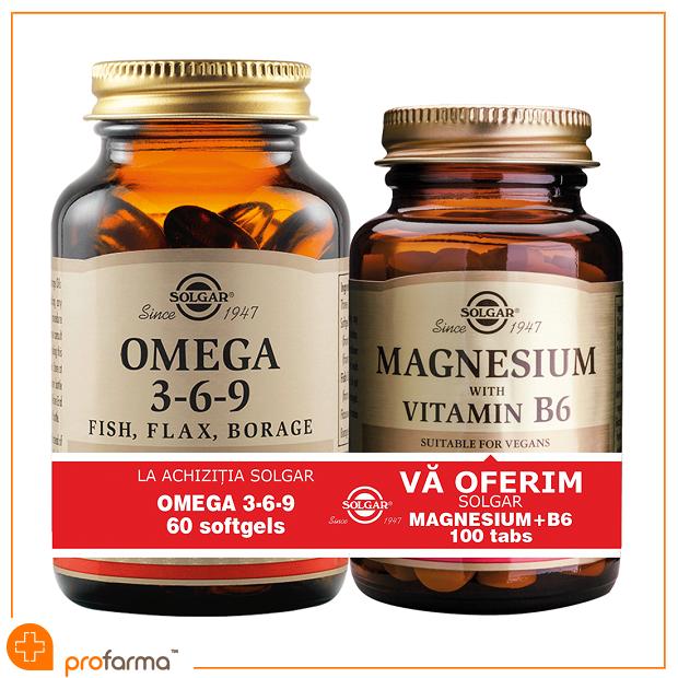 Pachet 1+1 Omega 3-6-9 - 60 capsule + Magnesium with Vitamin B6 - 100 tablete [0]