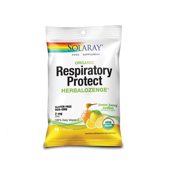 Supliment alimentar, Respiratory Protect HerbaLozenge, Lemon Honey Soother, Solaray - 18 dropsuri [0]