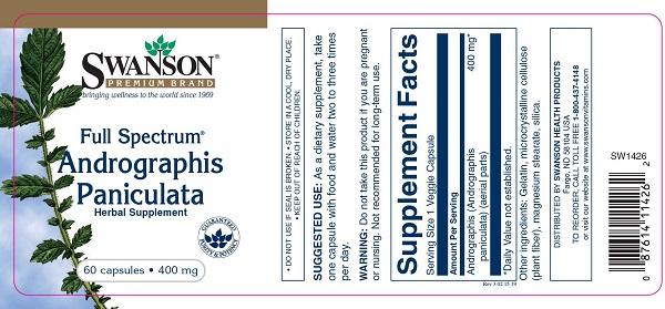 Supliment alimentar, Swanson Full Spectrum Andrographis Paniculata - 60 capsule (60 doze) [1]