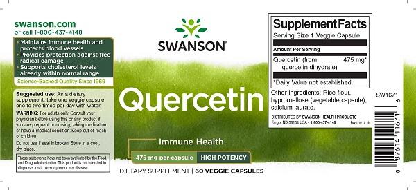 Supliment alimentar, Quercetina (475 mg), Swanson High Potency Quercetin - 60 capsule (60 doze) [1]