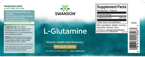 Supliment alimentar, L-Glutamina (500 mg), Swanson L-Glutamine - 100 capsule (100 doze) [1]