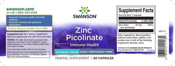 Supliment alimentar, Picolinat de Zinc (22 mg), Swanson Zinc Picolinate Body Preferred Form - 60 capsule (60 doze) [1]