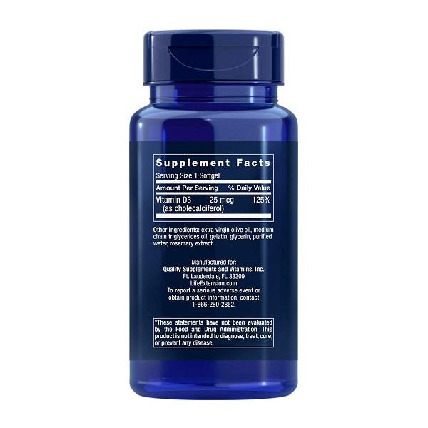 Supliment alimentar, Vitamina D3, Imunitate, Densitate Osoasa si Sistem Cardiovascular, Life Extension Vitamin D3 - 250 capsule (250 doze) [1]