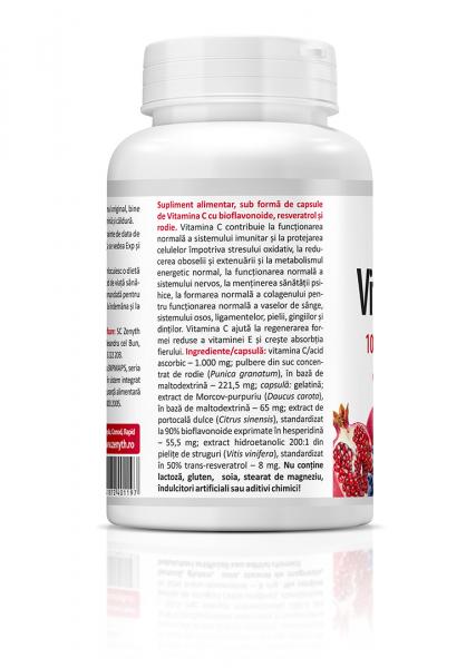 Complex pentru Imunitate, Zenyth Vitamina C Premium cu Rodie (1000 mg) - 60 capsule (60 doze) [1]