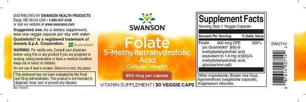 Supliment alimentar, Acid-5-Metiltetrahidrofolic (800 mcg), Swanson Ultra Folate - 30 capsule (30 doze) [1]