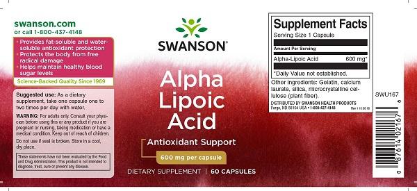 Supliment alimentar, Acid Alfa-Lipoic (600 mg), Swanson Alpha Lipoic Acid - 60 capsule (60 doze) [1]