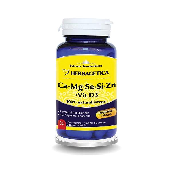Supliment alimentar, Ca+Mg+Se+Si+Zn cu Vitamina D3, Complex Forte - 30 capsule [0]