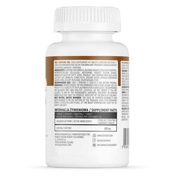 Supliment alimentar, Cafeina(200 mg), OstroVit Caffeine - 110 comprimate (110 doze) [1]