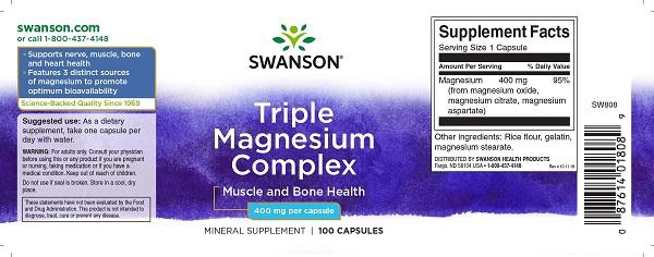 Supliment alimentar, Complex Triplu Magneziu (400 mg), Swanson Triple Magnesium Complex - 100 capsule (100 doze) [1]