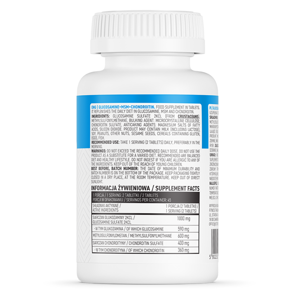 Supliment alimentar Glucosamina + MSM + Condroitina, OstroVit - 90 comprimate (45 doze) [1]