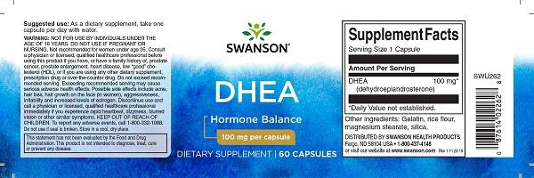 Supliment alimentar, Dehidroepiandrosterona (100 mg), Swanson Ultra DHEA - 60 capsule (60 doze) [1]