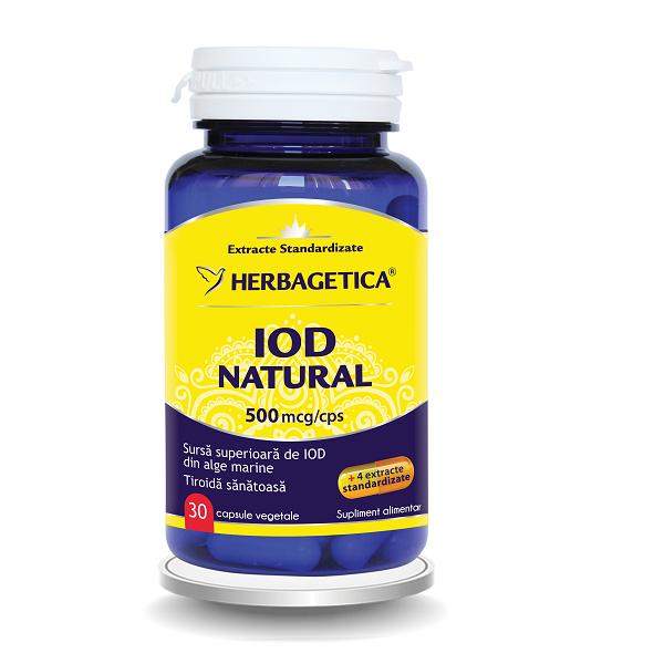 Supliment alimentar, Iod Natural (500 mcg) - 30 capsule [0]