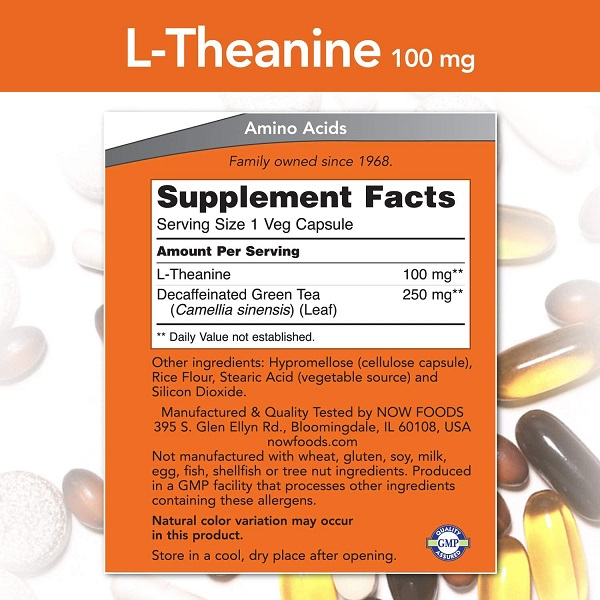 Supliment alimentar, L-Teanina (100 mg), Now Foods L-Theanine - 90 capsule (90 doze) [1]