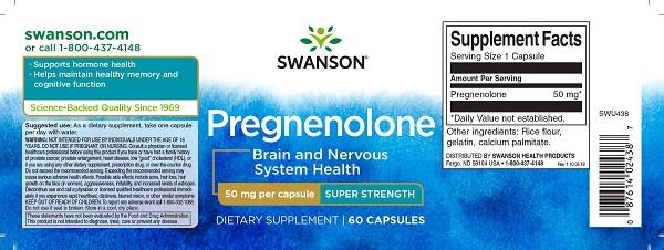 Supliment alimentar, Pregnenolona (50 mg), Swanson Super-Strength Pregnenolone - 60 capsule (60 doze) [1]