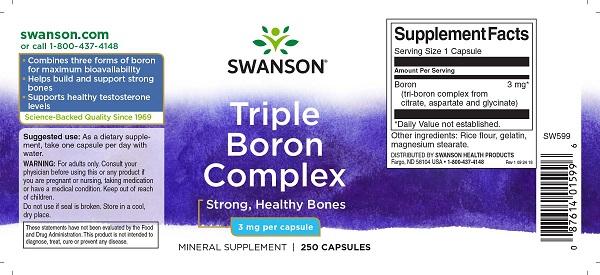 Supliment alimentar, Sanatate si Densitate Osoasa, Swanson Triple Boron Complex - 250 capsule (250 doze) [1]