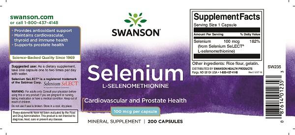 Supliment alimentar, Seleniu (100 mcg), Swanson Selenium L-Selenomethionine - 200 capsule (200 doze) [1]