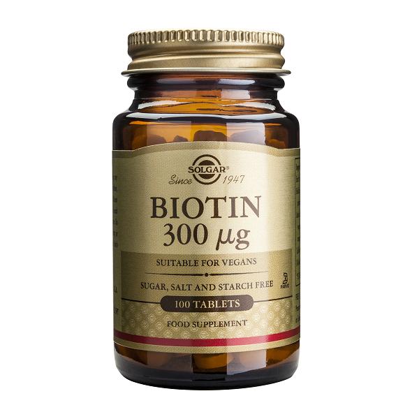 Supliment alimentar, Biotina, Solgar Biotin (300 mcg) - 100 comprimate [0]