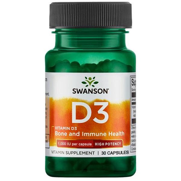 Supliment alimentar, Vitamina D3 1000 UI, Swanson High Potency Vitamin D3 - 30 capsule [0]