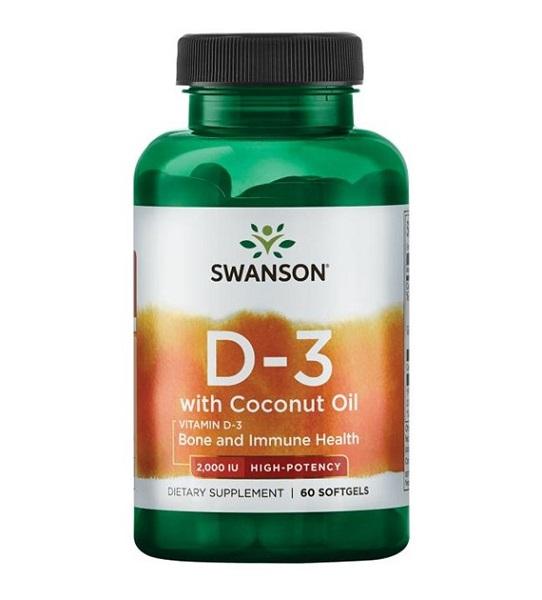 Supliment alimentar, Vitamina D3 (2000 UI) cu Ulei de Cocos, Swanson Vitamin D3 with Coconut Oil  - 60 capsule [0]